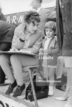 Bette the wife of British racing driver Graham Hill with Damon