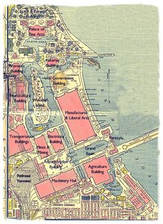 Daniel Burnham - 1893 Chicago World's Fair: World's Columbian Exposition: Map of the Grounds Chicago City, Chicago Area, Chicago School, Chicago Chicago, Old Pictures, Old Photos, Vintage Photos, World's Columbian Exposition, My Kind Of Town
