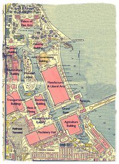 Daniel Burnham - 1893 Chicago World's Fair: World's Columbian Exposition: Map of the Grounds Chicago City, Chicago Area, Chicago Chicago, World's Columbian Exposition, White City, Expositions, World's Fair, Cartography, Poster