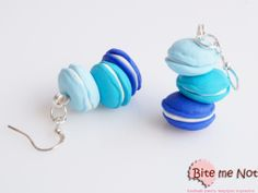 Macarons tower (blue) -Silver plated hook earrings!  -Three macarons on blue shades!