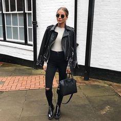 Black. Boots. Leather. Sunglasses.