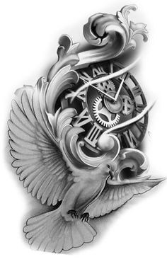 Clock - Clock You are in the right place about Clock Tattoo Design And Style Galleries On The Net – Are Th - Angel Tattoo Designs, Tattoo Sleeve Designs, Tattoo Designs Men, Sleeve Tattoos, Dove Tattoo Design For Men, Clock Tattoo Design, Tattoo Design Drawings, Tattoo Sketches, Dove Tattoos