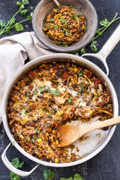 A healthy, vegetarian, gluten free dinner the whole family will love! You won't miss the meat in this easy to make, One Pot Cheesy Mexican Lentils, Black Beans and Rice!(One Pot Rice Recipes) Lentil Bean Recipe, Lentil Recipes, Bean Recipes, Veggie Recipes, Lunch Recipes, Mexican Food Recipes, Dinner Recipes, Cooking Recipes, Free Recipes