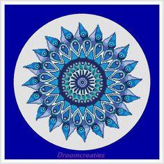 X-stitch pattern mandala Teardrops aqua blue - digital crossstitch embroidery pattern  - 178 x 177 crossstitches - 32 x 32 cm - 13 x 13 inch by Droomcreaties on Etsy https://www.etsy.com/listing/129434713/x-stitch-pattern-mandala-teardrops-aqua