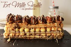 Tort Mille Feuille cu profiterol - Retete culinare by Teo's Kitchen Cookie Recipes, Dessert Recipes, Desserts, Galaxy Cake, Something Sweet, Sweets, Cookies, Vegetables, Breakfast