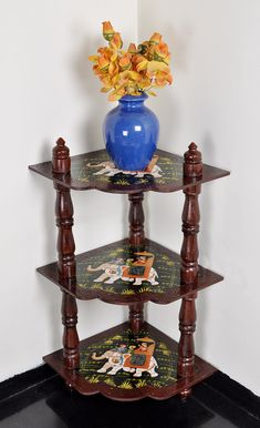 Antique Design Hand Painted Living Room Furniture Corner Table 3 Shelves Wood Cabinet House Gift 37 x 18 x 18 Inches by HouseOfHandicraft on Etsy