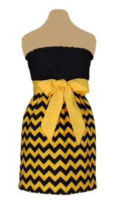 www.gameondresses... Game Day Chevron! Rock your school colors on game day, for rush or around campus with the Black and Yellow chevron dress, just $39.99. We have over 65 dresses in all the great school colors. Go Georgia Tech Yellow Jackets! Go Southern Miss Golden Eagles! Go Mizzou Tigers! Go Iowa Hawkeyes!
