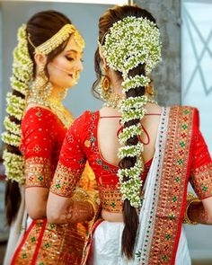 Bridal Hairstyle For Reception, New Bridal Hairstyle, Bridal Hair Buns, Bridal Braids, South Indian Hairstyle, South Indian Wedding Hairstyles, Indian Hairstyles, Saree Hairstyles, Bride Hairstyles