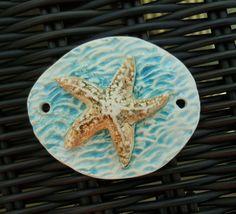 by Sheri Mallery Starfish in Aqua Blue Water Ceramic Pendant  SlinginMud.etsy.com