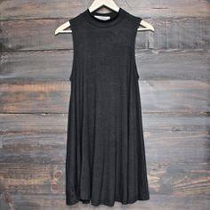 BSIC - solid high neck womens tank mini dress - black