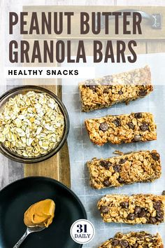 This healthy homemade Peanut Butter Granola Bars with Chocolate Chips recipe is easy to make at home. These granola bars are healthy energy-boosting chewy and soft. Granola Bars Peanut Butter, Healthy Granola Bars, Healthy Protein Snacks, Veggie Snacks, Homemade Granola Bars, Homemade Peanut Butter, Healthy Peanut Butter, Easy Snacks, Homemade Recipe