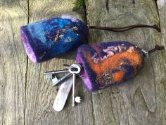 Wet felt key bells with leather thongs