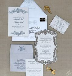 Sumeetha and Tanner Ornate Wedding Invitations by Ceci New York