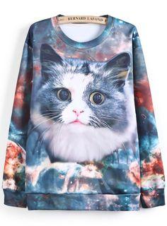 Purple Long Sleeve Cat Print Loose Sweatshirt RUBp.1016