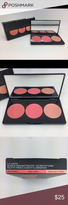 Smashbox LA lights blush & highlight palette NEW authentic Smashbox LA Lights blush & highlight palette. Colors are: rich coral, true coral & highlight coral. Gorgeous for spring/summer! Sephora Makeup Blush