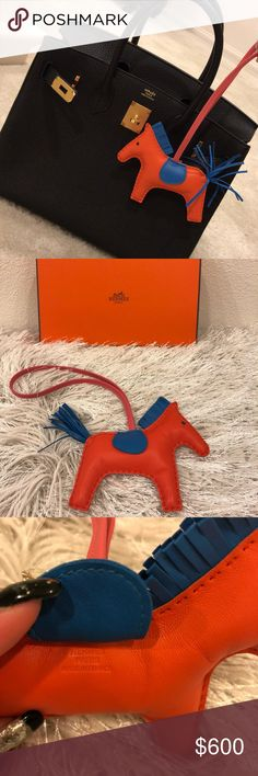 Hermes Rodeo Horse Bag Charm MM Poppy BlueZanzibar Brand new in box and proof of purchase can be shown upon purchase. Hermes Accessories