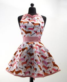 The JESSIE Vintage Inspired CHIC DACHSHUND Ruffle Hostess Full Apron