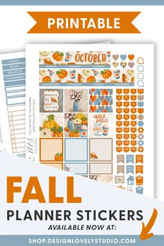 Grab these FALL Planner Stickers for Erin Condren! #erincondrenplannerstickers #fallplannerstickers Cute Planner, Planner Layout, Monthly Planner, Happy Planner, Printable Planner Stickers, Diy Stickers, Planner Decorating, Halloween Stickers, Erin Condren Life Planner