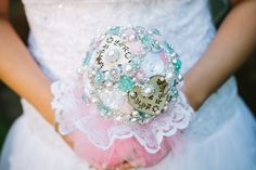 Forever Bouquet, made from beads, brooches, wooden hearts and fabrice flowers. With a lace and tulle frill.