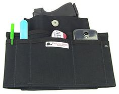 Packin' Neat Purse Holster for Concealed Carry | Fits Smith and Wesson Bodyguard Ruger LCP and Similar Sized CCW Guns (Skinny-Black, Compact)
