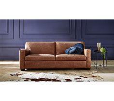Canapé 3 places MARLON cuir buffle cognac - Canapé BUT Sofa, Couch, Canapes, Decoration, Authentique, Invitation, Furniture, Home Decor, Products