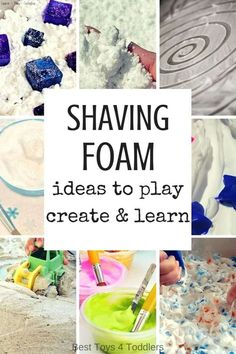 Best Toys 4 Toddlers - 33 ideas to play, learn and create with inexpensive material -shaving foam shaving foam! Perfect for kids who love messy play! Nursery Activities, Sensory Activities, Infant Activities, Activities For Kids, Indoor Activities, Autism Activities, Sensory Bags, Baby Sensory, Sensory Play