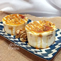 cajada de nata queso y nueces Flan, Chicken Salad Recipes, Canapes, Mousse, Food And Drink, Gluten Free, Queso, Candy, Puddings