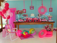 - Maricota Bau: Pool Party More - Sommer Pool Party, Pool Party Kids, Pool Party Decorations, Birthday Decorations, Party Themes, Ideas Party, Pink Flamingo Party, Flamingo Birthday, Barbie Birthday Party