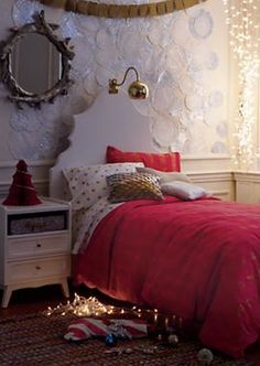 sparkly doily wall decor diy, twinkly lights and banners = girly christmas decor from land of nod