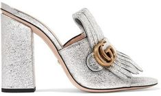 a2cf2d55e74b Gucci Marmont Fringed Metallic Cracked-leather Mules on ShopStyle Mules  Shoes