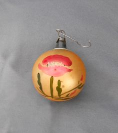 1930s Vintage Poland Blown Glass Christmas Ornament with Red Poppy . . . Lovely spherical European mouth blown glass ornament with hand painted decoration.! . $9
