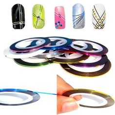 Warm Girl Mix Colors Rolls Metallic Striping Tape Line DIY Nail Art Tips Sticker… - Christmas Deesserts Nail Art Hacks, Nail Art Diy, Diy Nails, Nail Striping Tape, Tape Nail Art, Nail Art Tool Kit, Nail Art Tools, Ligne Nail Art, Tiffany Nails