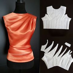 Blouse draft and neckline asymmetric drape