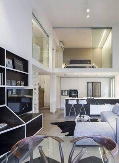 wohnzimmer-grau-weiss-glas-minimalistisches-design-loft-wohnung
