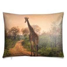 Giraffe on dust road. Other sizes and fabrics available. Luxury Cushions, Light Blue Background, Animal Decor, Giraffe, Feather, Fabrics, Velvet, Tapestry, Wall Art