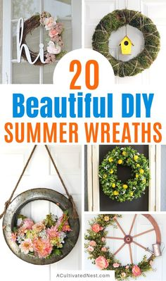 20 Beautiful DIY Summer Wreaths- Add some gorgeous summer decor to your home on a budget with these beautiful DIY summer wreaths! | #diyWreath #wreath #DIY #craft #ACultivatedNest Diy Spring Wreath, Diy Wreath, Wreaths, New Kitchen Doors, Spring Home Decor, Create And Craft, Summer Diy, Modern House Design, Ladder Decor