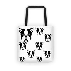 "Adorable Boston Pups Tote 100% spun polyester weather resistant fabric Dual handles 100% natural cotton bull denim Bag 15"" x 15"" (38.1cm x 38.1cm) 100% Made in"