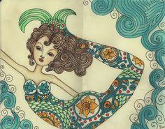 """Colored pencil art from """"Mermaid Science"""" art journal. Mermaid Cove, Mermaid Diy, Mermaid Crafts, Real Mermaids, Mermaids And Mermen, Drawn Art, Mermaid Kisses, Mermaid Tattoos, Merfolk"""