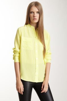 Collarless Slim Signature Silk Blouse » Cute top, but oh my goodness she looks so unhappy.