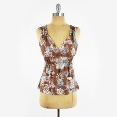 $118 BCBG MAXAZRIA blue FLORAL print STRETCH SMOCKED BABYDOLL tank top blouse S $19.99
