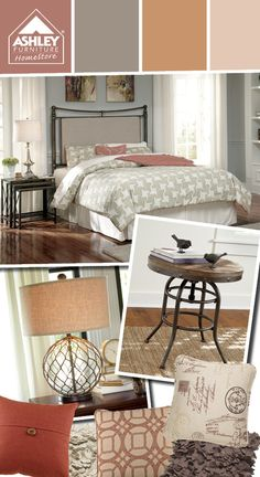 metal bed with soft warm tones mix of fabric on the headboard nashburg by ashley furniture