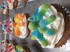Sour candy cupcakes Made these up myself☺