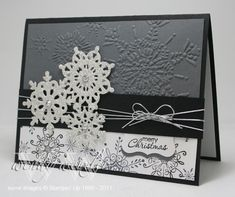 Wickedly Wonderful Creations: Black & White Christmas Stamps: Serene Snowflakes, Petite Pairs Paper: Basic Black, Basic Gray, Whisper White Ink: Basic Black, Basic Gray Accessories: Northern Frost Decorative Strip Die, Silver Cord, Curvy Label Punch, Northern Flurry Textured Impressions Folder, Rhinestone Basics