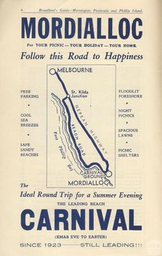 Broadbent's Official Guide Mornington Peninsula and Phillip Island Melbourne Victoria, Victoria Australia, Night Picnic, Australian Vintage, Phillips Island, Thanks For The Memories, Sandy Beaches, Best Cities, Historical Photos