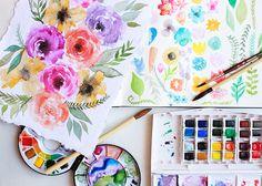 alisaburke: in the studio: watercolor blooms