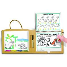 This reusable art kit features a magnetic board and dry erase pages, perfect for coloring dinosaur scenes over and over again. Dinosaur Activities, Book Activities, Learning Express, Fun Learning, Dinosaur Discovery, Dinosaur Drawing, Dry Erase Markers, Dry Erase Board, Fine Motor Skills