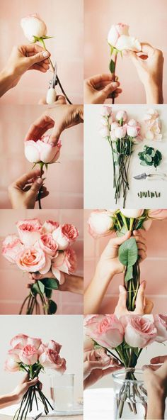 3 ways to arrange supermarket flowers.