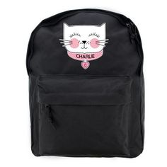 Personalised Black Backpack - Cat Face