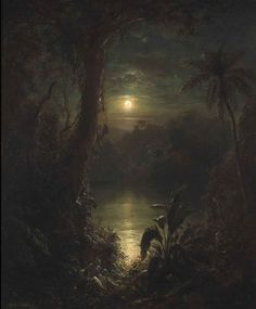 Frederic Edwin Church - Tropical Moonlight. Frederic Edwin Church was an American landscape painter born in Hartford, Connecticut. He was a central figure in the Hudson River School of American landscape painters