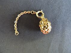 Vintage Goldtone Joan Rivers Basket Duck Swan Cattails Egg Charm with Extender